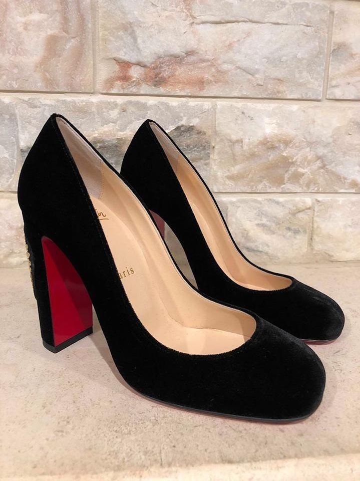Embroidered 100 Pumps Cadrilla Louboutin Heart Black Gold Velvet Corazon Christian Heel Red zpTqw6zI