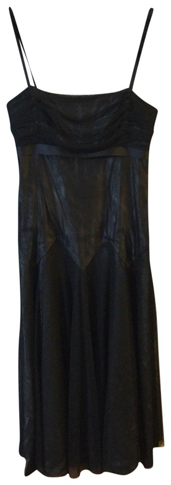 Vera Wang Black Acetate Taffeta Strapless Mesh Overlay Evening Gown