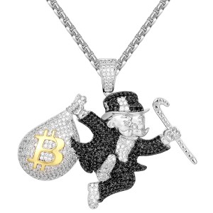 Master Of Bling Hip Hop 14k White Gold Finish Monopoly Man Bitcoin Bag Pendant Chain