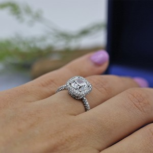 Platinum Engagement with Center 2.02ct Cushion Cut Ring