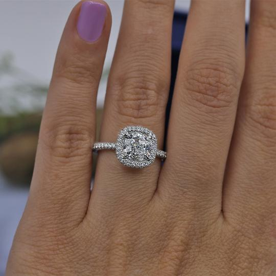 Platinum Engagement with Center 2.02ct Cushion Cut Ring Image 1
