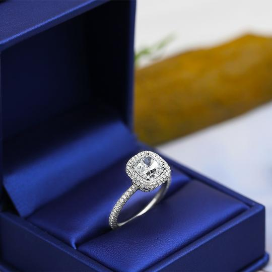 Platinum Engagement with Center 2.02ct Cushion Cut Ring Image 2