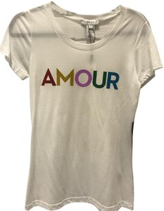 Milly Amour Neiman Marcus Glitter Rainbow T Shirt White