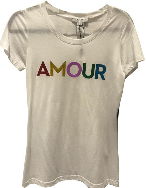 Preload https://img-static.tradesy.com/item/23778544/milly-white-women-s-graphic-print-amour-tee-shirt-size-2-xs-0-1-650-650.jpg