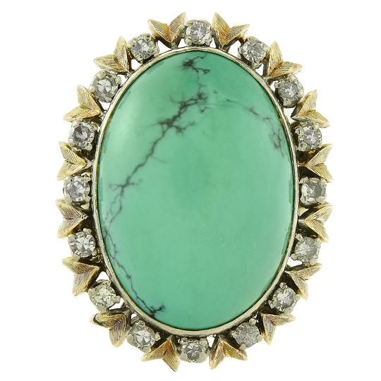 Preload https://img-static.tradesy.com/item/23778581/avital-and-co-jewelry-18k-yellow-gold-21x15mm-turquoise-040-carat-diamond-vintage-hand-made-ring-0-0-540-540.jpg