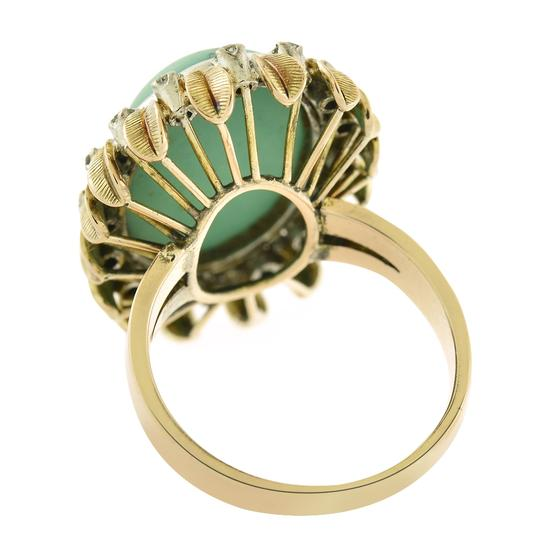 Avital & Co Jewelry 21x15mm Turquoise & 0.40 Carat Diamond Vintage Hand Made Ring 18K Yell Image 1
