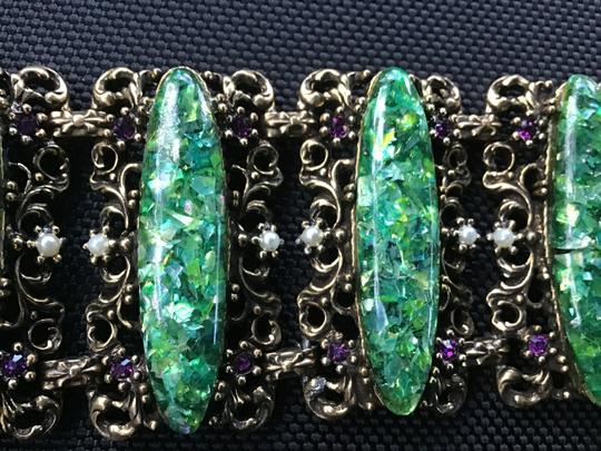 Bracelet-unknow Baroque -antique Gold & green stone,pearls, purple Image 2