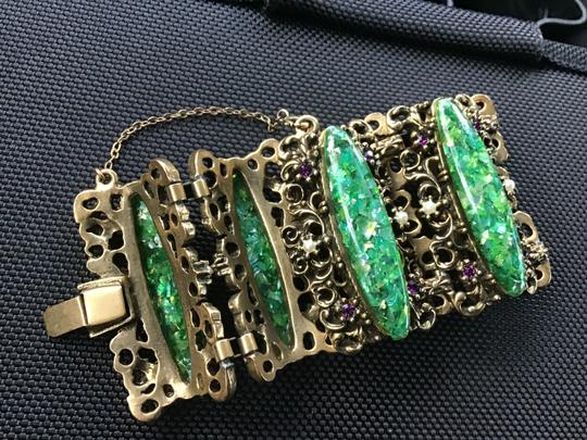 Bracelet-unknow Baroque -antique Gold & green stone,pearls, purple Image 4