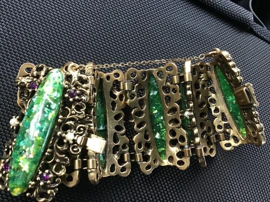 Bracelet-unknow Baroque -antique Gold & green stone,pearls, purple Image 5