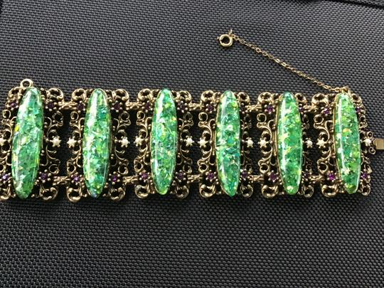 Bracelet-unknow Baroque -antique Gold & green stone,pearls, purple Image 6