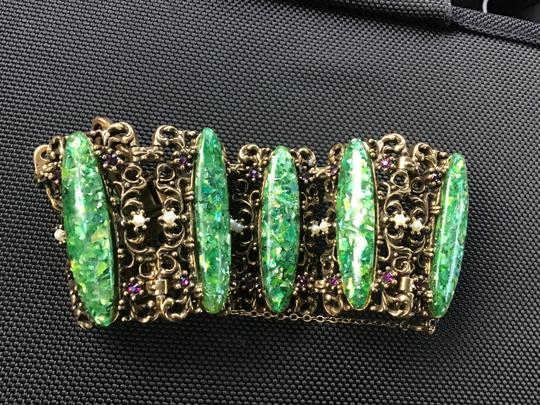 Bracelet-unknow Baroque -antique Gold & green stone,pearls, purple Image 7