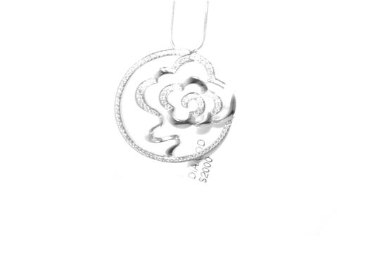 Other 14 KT. White Gold Diamond Flower In Circle Charm Necklace Image 1