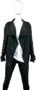 Rick Owens Minimalist Coated Denim Asymmetrical Drkshdw black Leather Jacket