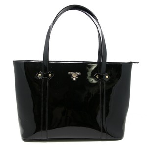 Prada Neverfull Monogram Saffiano Leather Clemence Grained Tote in Black