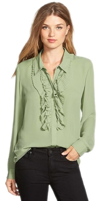 Preload https://img-static.tradesy.com/item/23778835/vince-camuto-greenwatercress-long-sleeve-ruffled-button-front-shirt-button-down-top-size-14-l-0-1-650-650.jpg