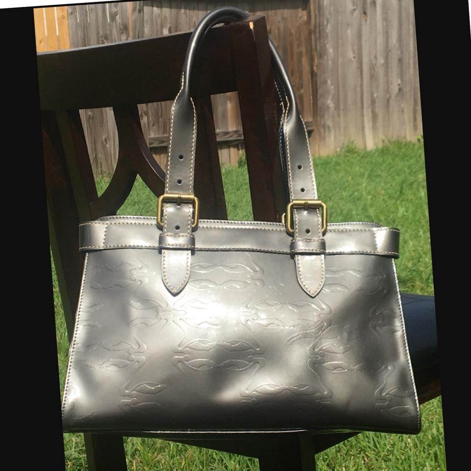Longchamp Satchel Logo Leather Pewter Patent BBRwqHO
