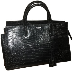Saint Laurent Crocodile Tote Satchel in black