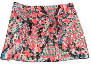 NEW Lilly Pulitzer Mini Skirt White, Black, Pink, Coral & Blue
