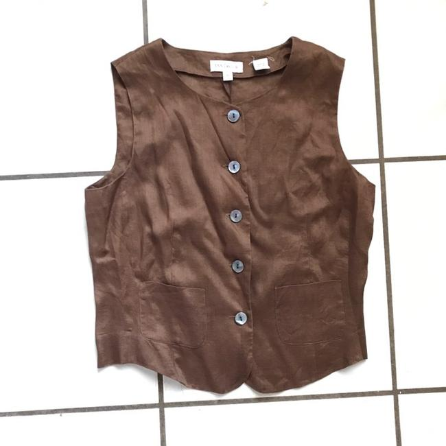 Preload https://img-static.tradesy.com/item/23779090/ann-taylor-vintage-minimalistic-brown-linen-vests-blouse-size-4-s-0-4-650-650.jpg