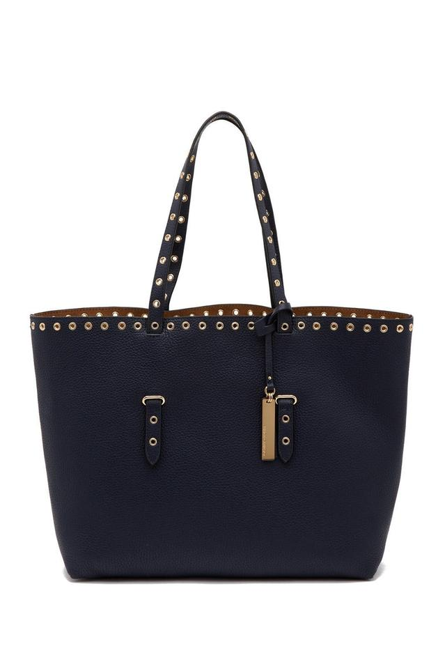 Navy Stud Tote Goldtone Camuto Areli Vince Leather Trim gtxqfXn0w