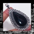 Other New Large Black Onyx 925 Silver Pendant Image 2