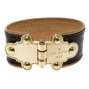 Louis Vuitton Save It Brown Monogram Canvas Wide Cuff Bracelet 17cm