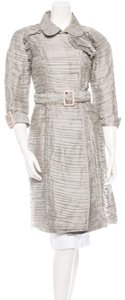 Burberry Ruffle Silk Belted Pleated Trench Coat