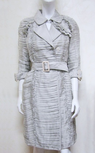 Burberry Ruffle Silk Belted Pleated Trench Coat Image 1