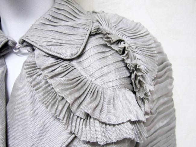 Burberry Ruffle Silk Belted Pleated Trench Coat Image 4