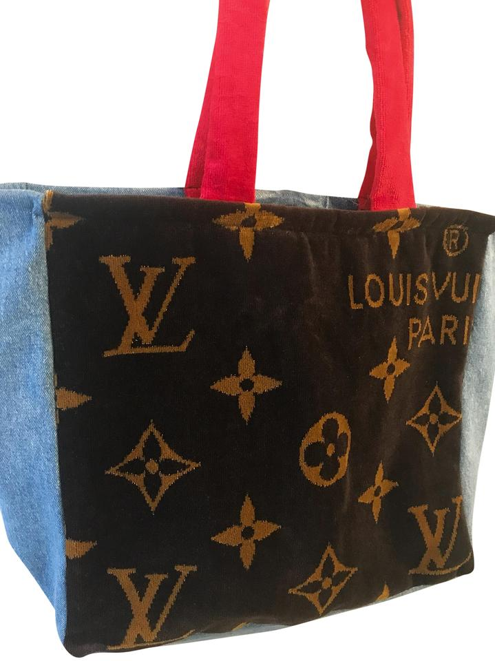eb0dc460 Denim Red Brown Louisvuitton Towel + Lined with Waterproof Material Beach  Bag 36% off retail