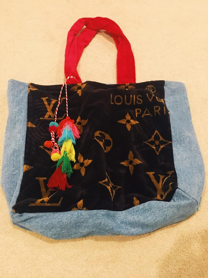 97329511 Denim Red Brown Louisvuitton Towel + Lined with Waterproof Material Beach  Bag 36% off retail