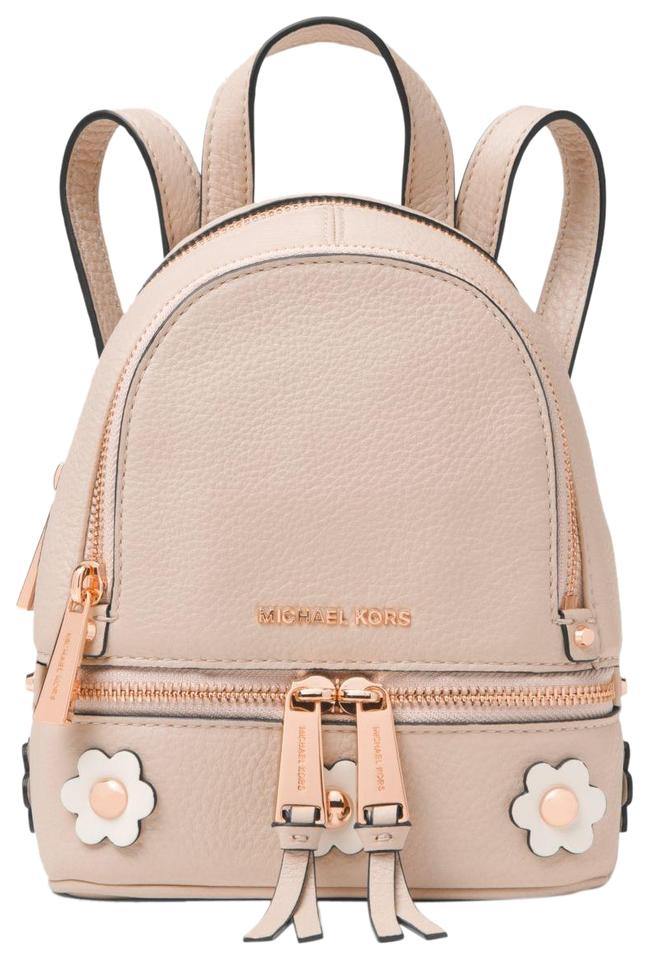 2c70da4eb176 Michael Kors Rhea Mini Floral Appliqué Pink Leather Backpack - Tradesy