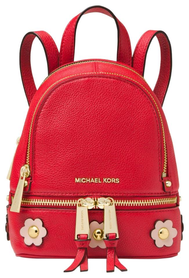 bb2521ffda30 Michael Kors Rhea Mini Floral Appliqué Red Soft Pink Leather ...