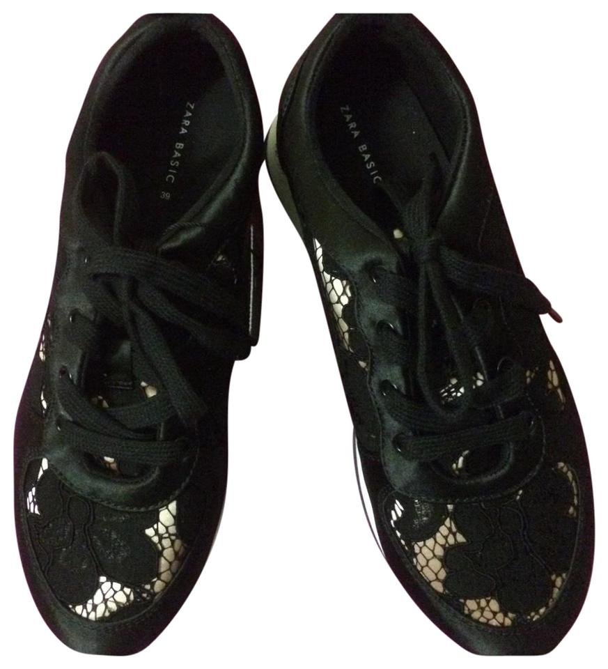 Satin Overlay Lace Sneakers up Sneakers champagne Stylish Black Lace Zara vtqHwf