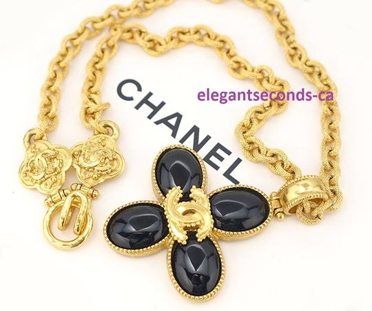 Chanel Auth. Vintage Chanel Gold Plated Necklace Stone Pendant Image 11