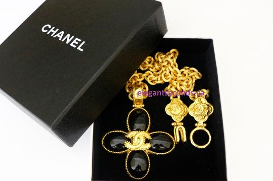 Chanel Auth. Vintage Chanel Gold Plated Necklace Stone Pendant Image 2