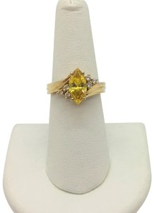 Diamonique 14k Yellow Gold Diamonique Yellow and Clear Cubic Zirconia Ring Size 7