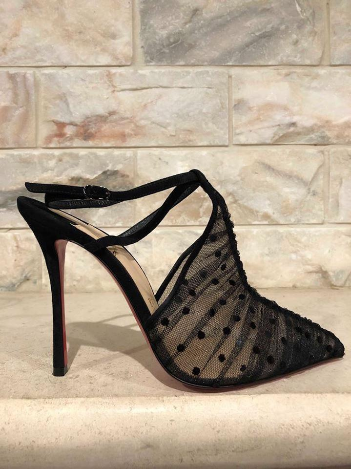 100 Sandal Black Louboutin Strap Pumps Criss Ankle Lace Christian Acide Heel Mesh Cross v4qx1Ivwa