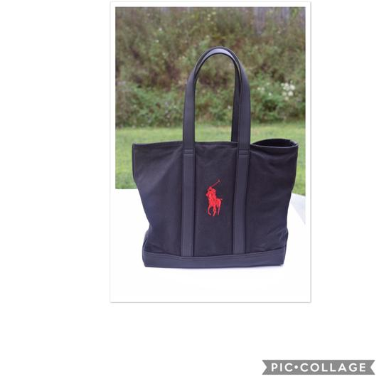 Preload https://img-static.tradesy.com/item/23779778/ralph-lauren-embroidered-logo-black-canvas-and-leather-tote-0-0-540-540.jpg
