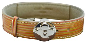 Louis Vuitton Orange Yellow Shiny Vernis Monogram LV Good Luck Flower Bracelet