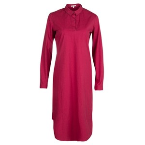 PAULE KA Red Cotton Long Sleeve Shirt Dress M