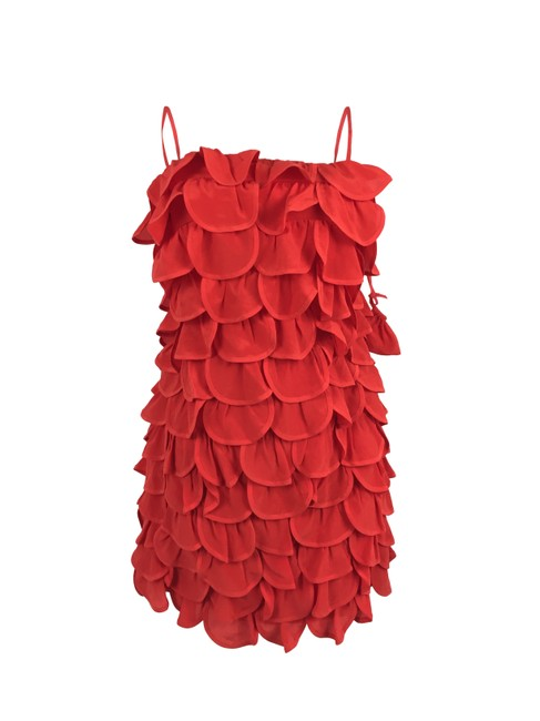 Item - Red Anthropologie Ruffled Short Cocktail Dress Size 0 (XS)