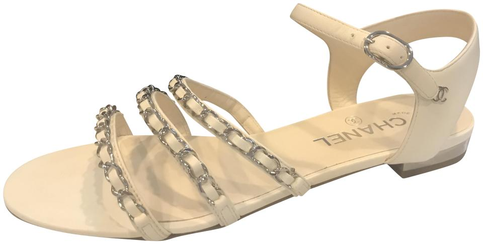 d44d1791c Chanel Ivory 18p Interwoven Leather Chain Straps Strappy Flat Sandals