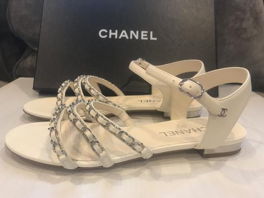 3d6e1be49 Chanel Ivory 18p Interwoven Leather Chain Straps Strappy Flat ...