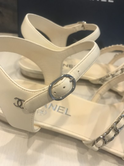 475c49997 ... Chanel Cc Chain Interwoven Flats Strappy Ivory Sandals Image 1