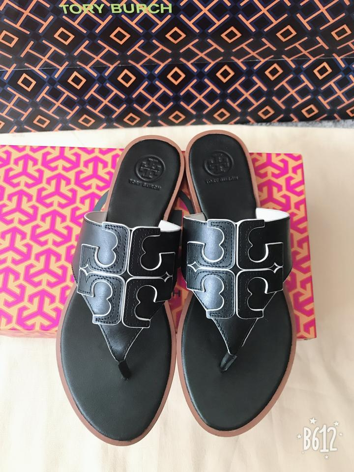 cfcff178e21c Tory Burch Black Jamie Full Logo Thong- Calf Leather Sandals. Size  US 8  Regular (M ...