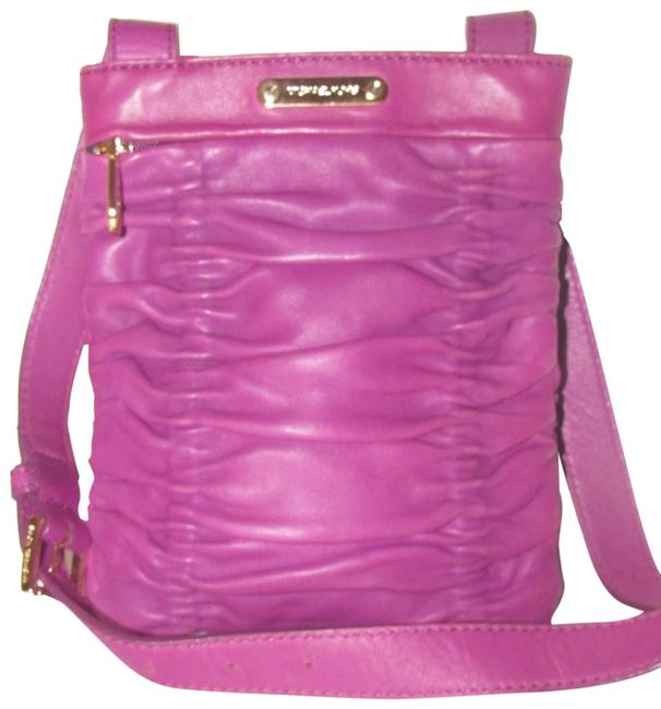 Item - Plum Ruched Leather Cross Body Bag