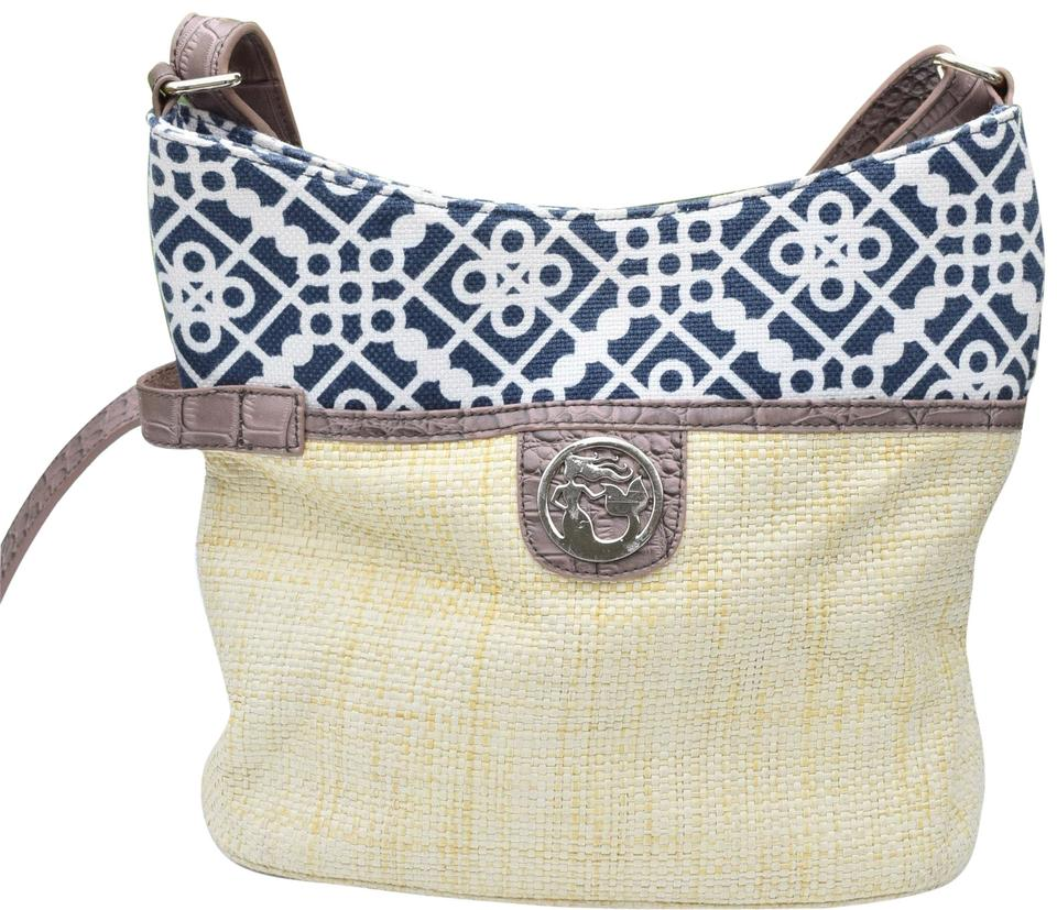 6178e5e96e4f Spartina 449 Bucket Beige Brown Navy Woven Straw   Leather Hobo Bag ...