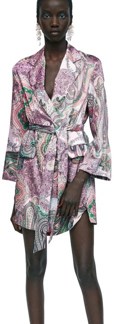 Item - Purple Paisley Print Blazer-style Short Night Out Dress Size 6 (S)