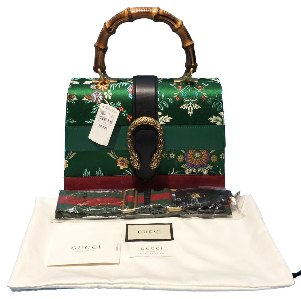 023d5aaca08 Gucci Made In Italy Luxury Designer Bamboo Floral Jacquard Crossbody  Shoulder Bag Image 9. 12345678910
